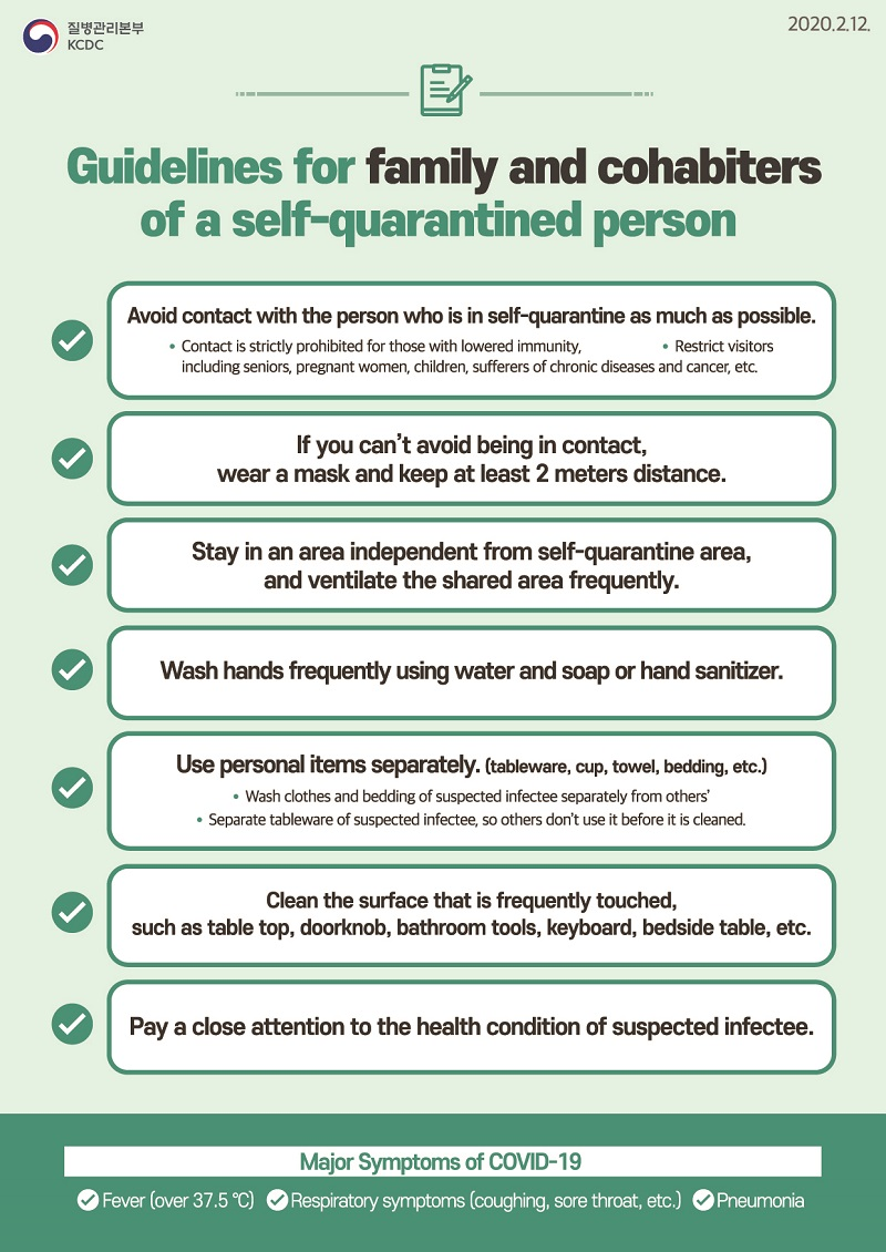 Guidelines for family and cohabiters of a self-quarantined person